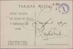 Tarjeta postal de Pedro Chicote a Guillermo Fernández-Shaw, deseándole un feliz año 1949.
