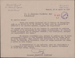 Carta de Francisco Lizárraga a Guillermo Fernández-Shaw, dándole las normas aprobadas en el último Consejo de la Sociedad General de Autores de España.