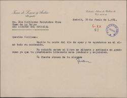 Carta de Juan de Leyva a Guillermo Fernández-Shaw, agradeciéndole la carta sobre su libro.