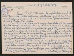 Carta de Luis Mesonero Romanos a Guillermo Fernández-Shaw, agradeciéndole su entrañable pésame.