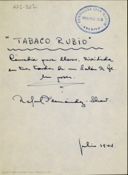 Tabaco rubio : comedia para llorar, dividida en tres tardes de un salón de té, en prosa / Rafael Fernández-Shaw.