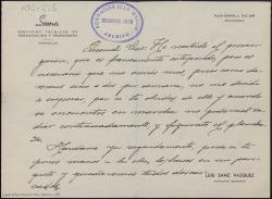 """Carta manuscrita de Luis Sanz Vázquez, director de """"Publicidad Suma"""", a Luis Tejedor, en la que acusa recibo del primer guión radiofónico, que le parece estupendo, y le pide que le mande más."""