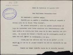 """Carta mecanografiada de Jaime G. Herranz a Guillermo Fernández-Shaw en la que acusa recibo del segundo acto de """"Fray Escoba"""", que le parece estupendo."""