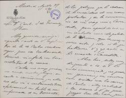 Cartas de Josefa Pérez Fernández, viuda de Antonio Peña y Goñi, a Carlos Fernández Shaw.