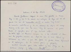 """Carta manuscrita de Ernesto Pérez Rosillo a Guillermo Fernández-Shaw en la que acusa recibo del segundo acto de """"Fray Escoba"""", y le comenta sus trabajos."""