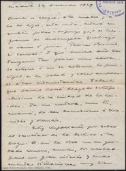 Carta manuscrita de Guillermo Fernández-Shaw a Rafael Fernández-Shaw con noticias familiares y sobre la lectura de una obra suya a Margarita Xirgu.
