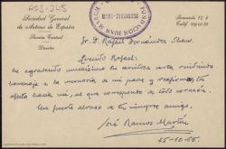 Carta manuscrita de José Ramos Martín a Rafael Fernández-Shaw agradeciendo su carta en la que rinde homenaje a la memoria de su padre.