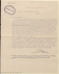 """Carta mecanografiada de Felipe Ximénez de Sandoval a Rafael Fernández-Shaw, agradeciendo los elogios a su libro """"Historia del cotilleo""""."""