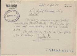 Carta manuscrita de José García Nieto a Rafael Fernández-Shaw agradeciendo su felicitación.