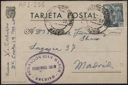 Tarjeta postal de Xavier Cabello a Rafael Fernández-Shaw en forma de versos.