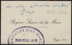 Tarjeta de visita de Regino Sáinz de la Maza a Rafael Fernández-Shaw con su agradecimiento.