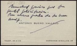 Tarjeta de visita de Antonio Buero Vallejo a Rafael Fernández-Shaw agradeciendo su felicitación.