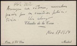 Tarjeta de visita de Claudio de la Torre a Rafael Fernández-Shaw agradeciendo su felicitación.