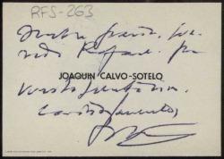Tarjeta de visita de Joaquín Calvo Sotelo a Rafael Fernández-Shaw agradeciendo su felicitación.