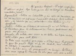 Carta manuscrita de Marcos Redondo a Rafael Fernández-Shaw en la que le comenta sus gestiones para el montaje de una obra en Barcelona.