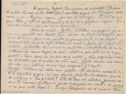 Carta manuscrita de Marcos Redondo a Rafael Fernández-Shaw en la que le comenta con detalle sus gestiones para el montaje de una obra.