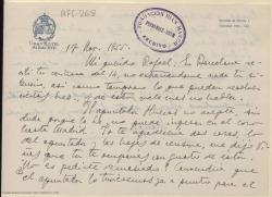 Carta manuscrita de Marcos Redondo a Rafael Fernández-Shaw en la que le pide que se ocupe del apuntador y las hojas de censura de una obra.