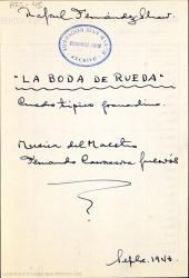 La boda de Rueda : cuadro típico granadino / Rafael Fernández-Shaw ; música del maestro Fernando Carrascosa Guervós.