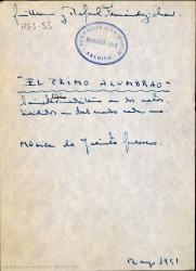 El primo alumbrao : sainete lírico madrileño en dos actos, divididos en tres cuadros cada uno / libro de Guillermo y Rafael Fernández-Shaw ; música de Jacinto Guerrero.