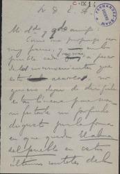 Borrador de carta de Carlos Fernández Shaw a Enrique Arregui.