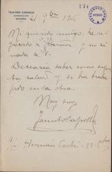 Cartas de Jacinto Capella a Carlos Fernández Shaw.