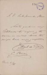 Cartas de Miguel de Palacios y Guillermo Perrín a Carlos Fernández Shaw.