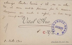 Cartas de Vital Aza a Carlos Fernández Shaw y Cecilia Iturralde, su esposa.