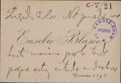 Cartas de Eusebio Blasco a Carlos Fernández Shaw.