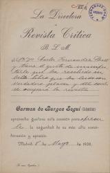Cartas de Carmen de Burgos (Colombine) a Carlos Fernández Shaw.