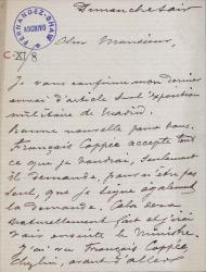 Cartas, en francés, de George Bastard a Carlos Fernández Shaw.