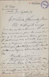 Cartas de Ruperto Chapí y Miguel Chapí a Carlos Fernández Shaw y Cecilia Iturralde, su esposa.