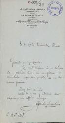 Cartas de Alejandro Larrubiera a Carlos Fernández Shaw y Cecilia Iturralde, su esposa.