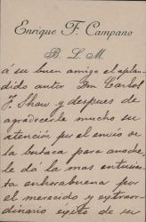 Cartas de Enrique F. Campano a Carlos Fernández Shaw.