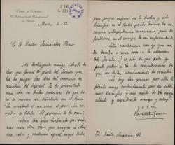 """Cartas de Antonio Sánchez Ruiz """"Hamlet Gómez"""" a Carlos Fernández Shaw."""