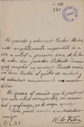 Cartas de Nilo Fabra a Carlos Fernández Shaw.