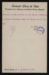 Cartas de Torcuato Luca de Tena a Carlos Fernández Shaw y Cecilia Iturralde, su esposa.