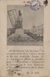 """Tarjeta postal de la Tertulia de """"La Carabela"""" a Cecilia Iturralde, viuda de Carlos Fernández Shaw."""