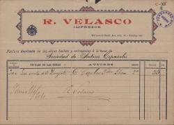 """Factura del impresor R. Velasco por la obra de Carlos Fernández Shaw """"La venta de Don Quijote"""". (Madrid)"""