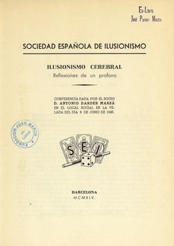 Ver ficha del libro: ILUSIONISMO CEREBRAL: REFLEXIONES DE UN PROFANO