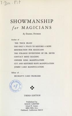Ver ficha del libro: SHOWMANSHIP FOR MAGICIANS