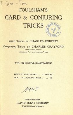 Ver ficha del libro: FOULSHAM'S CARD & CONJURING TRICKS