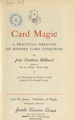 Ver ficha del libro: CARD MAGIC: A PRACTICAL TREATISE ON MODERN CARD CONJURING