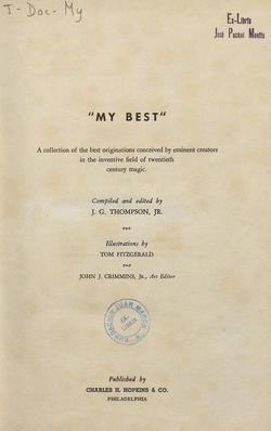 See book details: MY BEST: A COLLECTION OF THE BEST ORIGINATIONS CONCEIVED BY EMINENT CREATORS