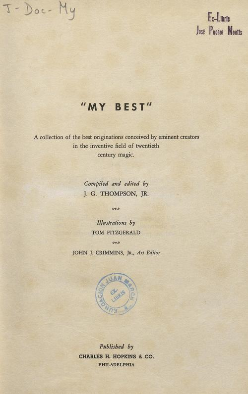 Book : My best: a collection of the best originations conceived by eminent creators