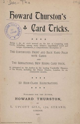 Libro : Howard Thurston's card tricks