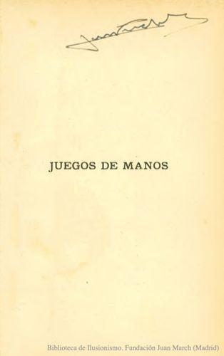 Libro : Juegos de manos : manual para aficionados