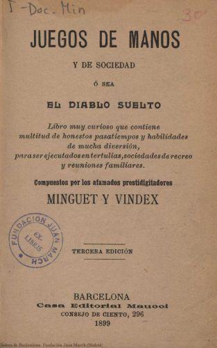 Libro : Juegos de manos y de sociedad ó sea El diablo suelto