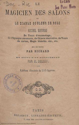 Libro : Le magicien des salons ou Le diable couleur de rose: recueil nouveau de tours d'escamotage, de physique amusante
