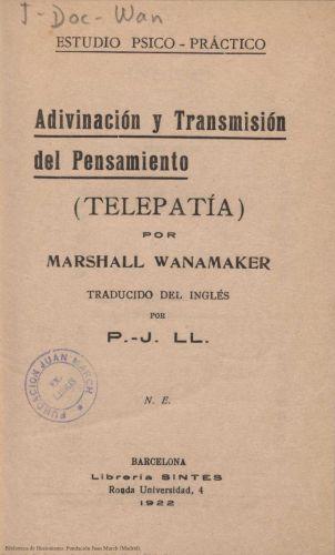 Libro : Adivinación y transmisión del pensamiento: (telepatía)