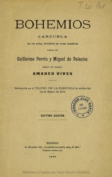 Bohemios:zarzuela en un acto, dividido en tres cuadros